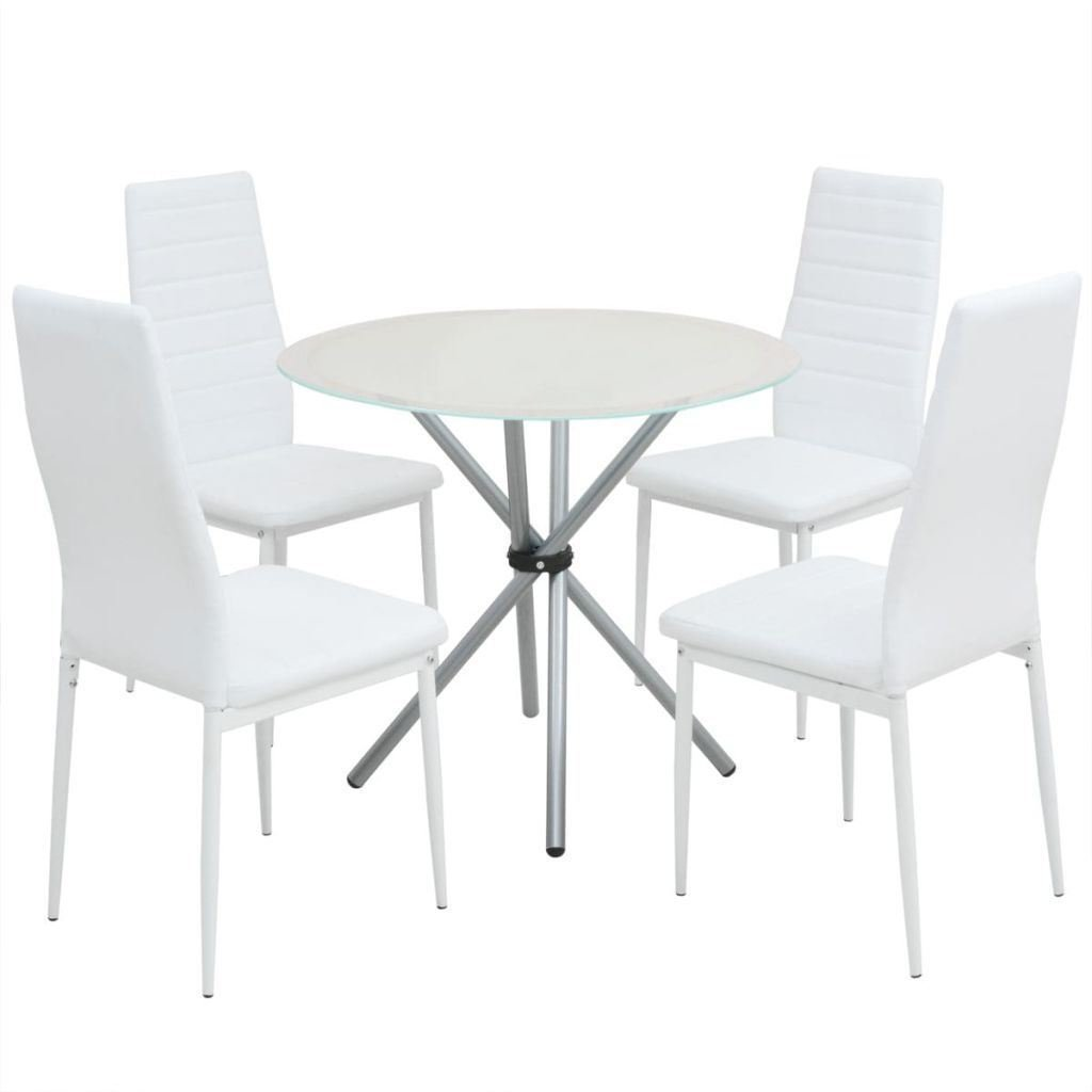 BestHomeFuniture 5 Piece Dining Room Set, 4 White Artificial Leather Chairs and 1White Glass top Round Dining Table