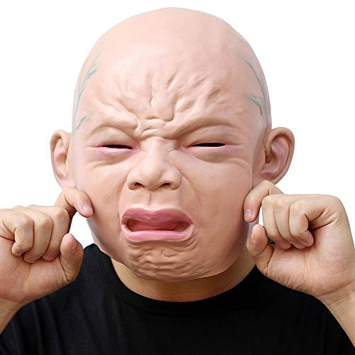 Halloween Masks Adults Horror Latex Crying Baby Full Head Party Costume Decorations Full Masquerade Mask Funny Face (Baby Halloween Costumes Diy)