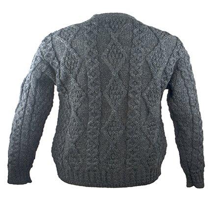 100% Irish Merino Wool V-Neck Button Aran Sweater by West End Knitwear