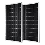 Renogy 2 Piece 100W Monocrystalline Photovoltaic PV Solar Panel Module, 12V Battery Charging
