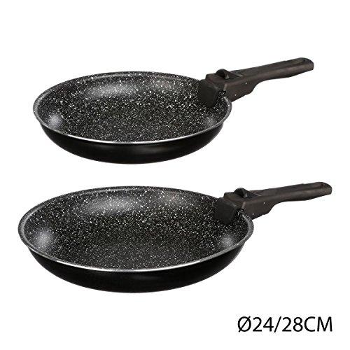 Unbekannt Jja 135111Set of 2Frying Pans with Detachable Handle 24/28cm