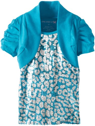 One Step Up Little Girls' Toddler Animal Print Shrug, Teal Wall, 2T