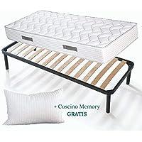 Set Sommier et Matelas simple 120x190 de 20 cm de hauteur avec Coussins en mousse mémoire de forme gratuits, lit complet, matelas avec revêtement massant sommier à lattes renforcé avec pieds - Offre