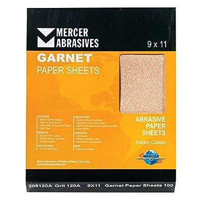 """Mercer Industries 205100A Grit 100 A-Weight 9"""" x 11"""" Garnet Paper Sheets (100-Pack)"""