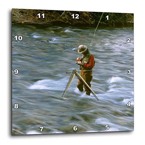 - 3dRose DPP_91765_1 Fly Fishing, Rock Creek, Missoula Montana Us27 Cha1369 Chuck Haney Wall Clock, 10 by 10