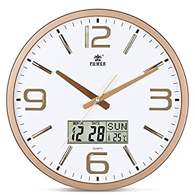POWER Large 16 Inches Silent Non-Ticking Wall Clock Battery Operated, Large LCD Display Date, Indoor Temperature, Week -  - wall-clocks, living-room-decor, living-room - 514WXQ63bpL. SS400  -