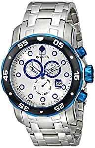 Invicta Men's 80043 Pro Diver Chronograph Silver Dial Stainless Steel Watch