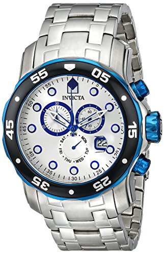 Invicta Men's 80043 Pro Diver Chronograph Silver Dial Stainless Steel Watch ()
