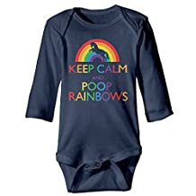 BADOU Keep Clam And Poop Rainbows For 6-24 Months Baby Romper Playsuit Navy