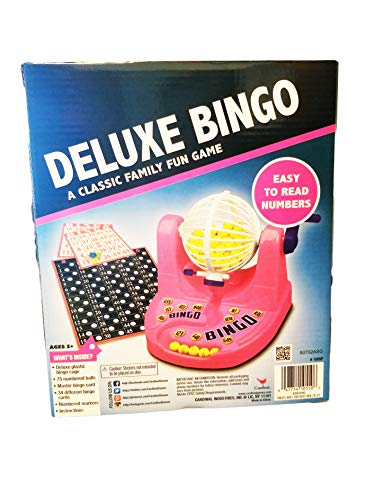 Game Bingo Cage Deluxe (Pink Deluxe Bingo Cage Game Classic Family Fun with Easy to Read Numbers up to 34 Player Age 5 yrs. and up)