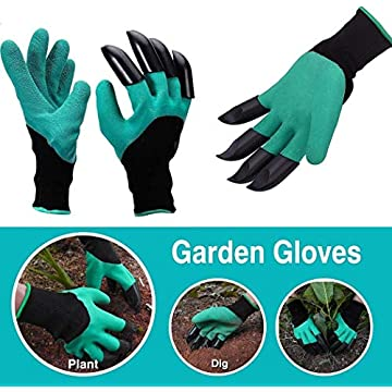 LEANO 1Pair/Set Unisex Garden Gloves with Fingertips Claws Digging Planting Gloves Gloves