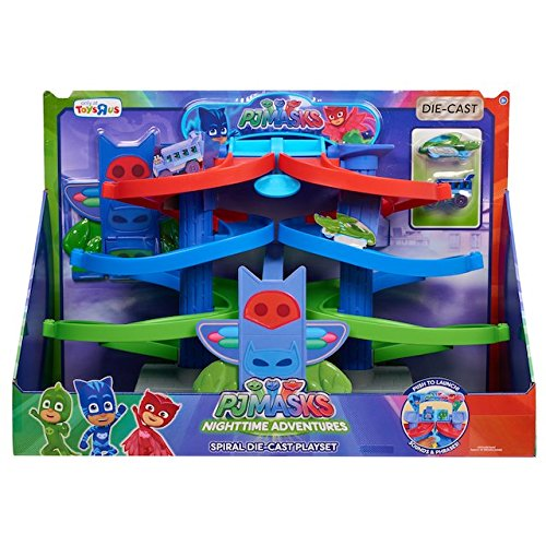 Simple The PJ Mask Nighttime Adventures Die Cast Spiral Playset will work with all of your little ones die cast toy cars Your kids can take turns racing their