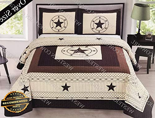 (Werrox Texas Star Barbed Wire Western Style Quilt Bedspread Comforter Shams 3 Pcs Set | Oversized Queen Size | Quilt Style QLTR-291265506)
