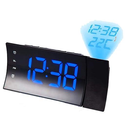 LHY FAN Reloj de Proyector, Radio Despertador con Pantalla LED ...