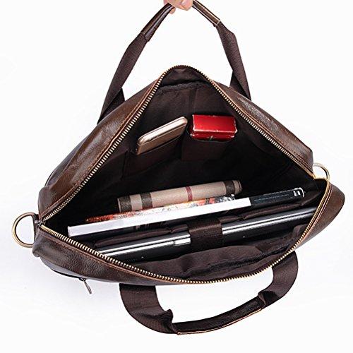 Zhhlinyuan lujo Mens Lightweight First Cowhide Leather Slim Professional Messenger Bag Shoulder Bag Briefcase