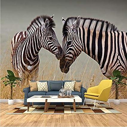 Weaeo Mural Personalizado Hd Alta Definición África Prado Zebra Sala De Estar Fondo Papel Tapiz Mural