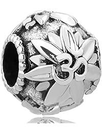 Om Symbol Love Yoga Lotus Flower Charm Beads For Charm Bracelets