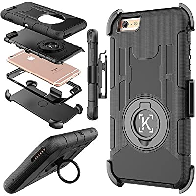iPhone 6 case, iTronic iPhone 6S hybrid dual layer combo armor defender protective case with kickstand and belt clip for iPhone 6S / 6 (Black) by iTronic