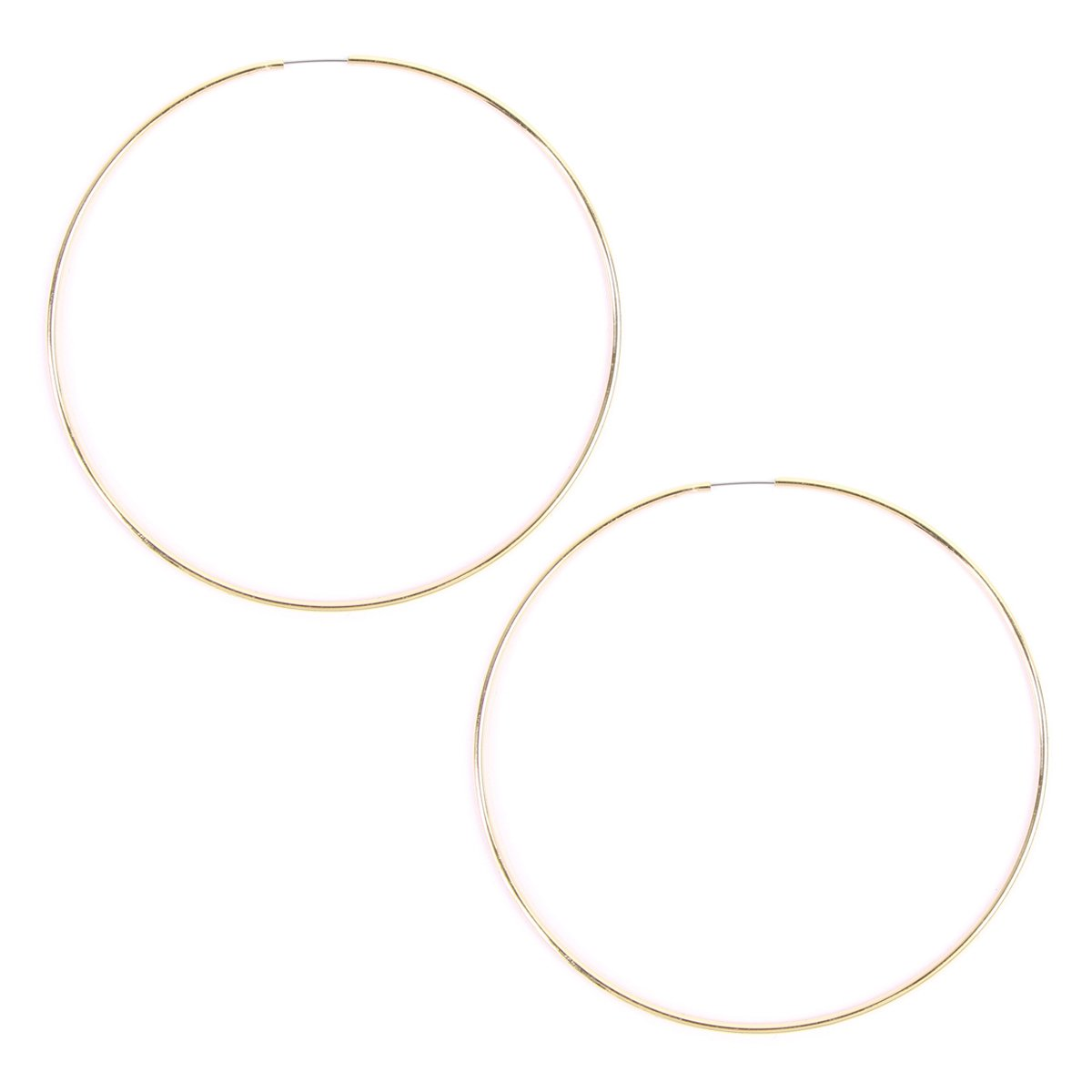 RIAH FASHION Lightweight Endless Hoop Earrings - Round Circle Seamless Thin Hoops (Round Hoop 1 - Gold - Large)