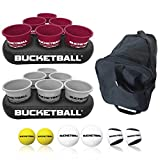 BucketBall - Team Color Edition - Party Pack (Maroon/Silver): Original Yard Pong Game: Best Camping, Beach, Lawn, Outdoor, Family, Adult, Tailgate Game