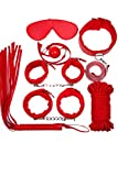 Qianqu 7pcs Purple Hand Cuffs Set Adult Sexy Toys Sm Sexy (Red, M)