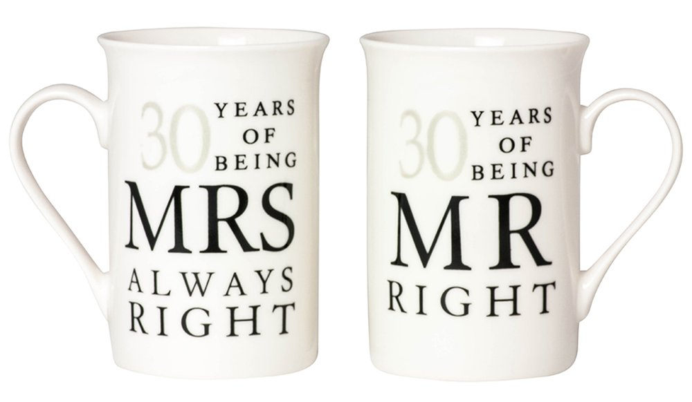 Ivory 30th Anniversary Mr Right & Mrs Always Right Mug Gift Set by Haysoms