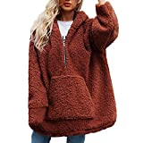SMALLE ◕‿◕ Clearance,Sweatshirt for Women, Warm Artificial Wool Coat Hooded Zipper Sweatshirt Winter Parka Outerwear