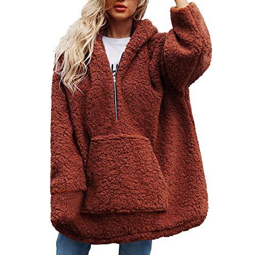 Clearance Womens Coat Cinsanong Winter Warm Hooded Sweatshirt Zipper Parka Artificial Wool Outerwear Clothes -