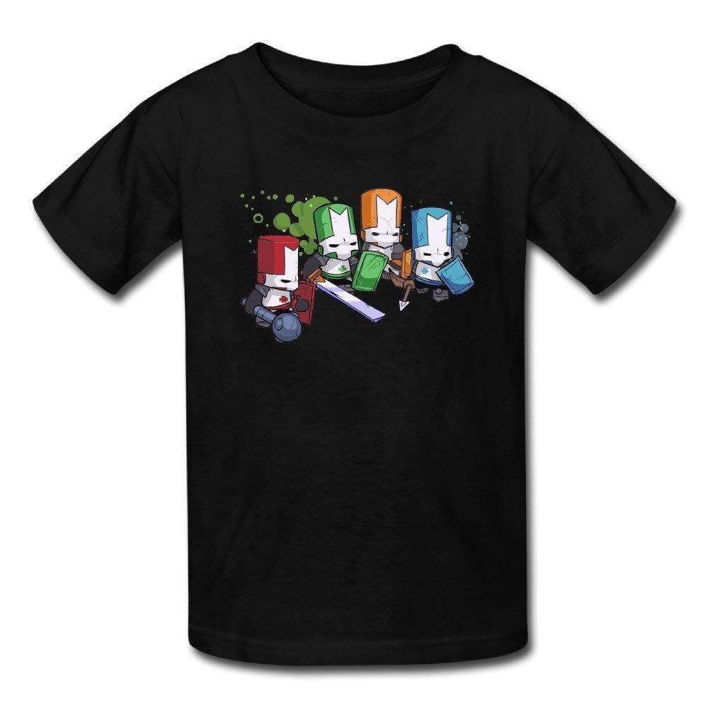 Yonolo S Black Casual Castle Crashers Four Color Character Logo Short Sleeve Graphic Tshir