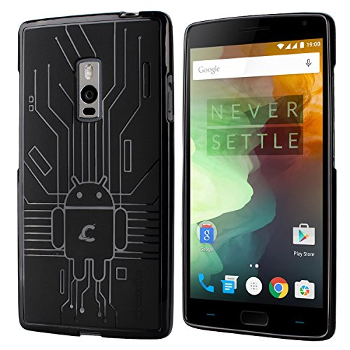(OnePlus 2 Case, Cruzerlite Bugdroid Circuit Case Compatible for OnePlus 2 / OnePlus Two - Retail Packaging - Black)