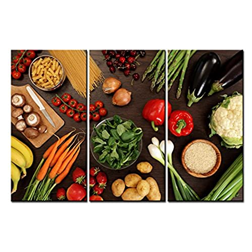 SmartWallArt   Food Paintings Wall Art Various Vegetable And Pasta On The  Table 3 Panels Picture Print On Canvas For Modern Home Decoration