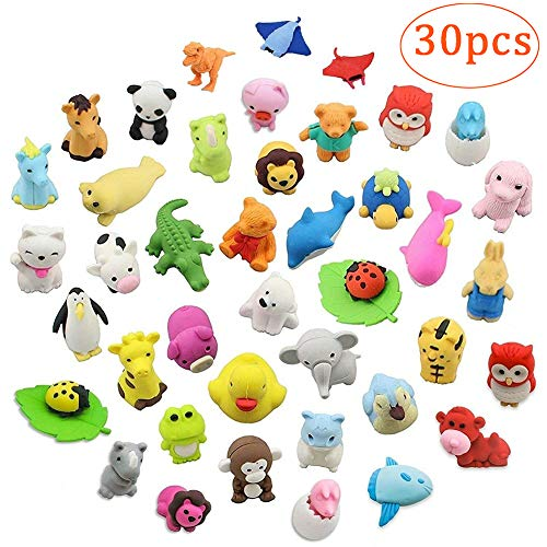 Animals Zoo Shaped Puzzle (Meiyiu Animal Shaped Erasers,30PCS Funny Toys Pencil Erasers Collectible Cute Mini Puzzle Eraser Toys for Novelty Party and School Supplies)