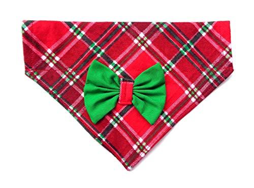 2 in 1 Flannel Scottish Plaid Christmas St Patrick's Day Dog Bandanna Bow, Over the Collar No-Tie Slip Through, Festive Petwear Handmade Holiday Accessories (Collar Bandana Dog)