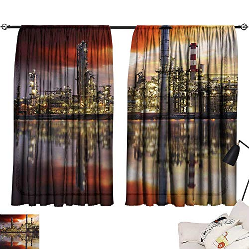 Davishouse Industrial Thermal Curtains Oil Refinery Petrochemical Industry Water Reflection and Dramatic Sky Twilight Privacy Protection