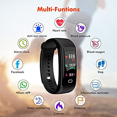 Fitness Tracker, Smart Watch with Color Screen, Activity Tracker With Heart Rate Monitor, Calories track, Sleep Monitor, IP68 Waterproof Smart Bracelet Pedometer Wristband for Android and IOS