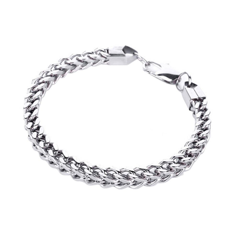 Swyss New Stainless Steel Couples Bracelets for Men Women Press Flat Hand Chain with Titanium Bracelet
