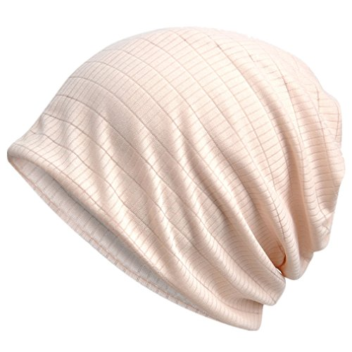 Cotton Blend Beanie - 4URNEED Spring Summer Women Thin Caps Cotton Blend Beanie Cap Headwrap Headwear Chemo Cap Sleep Caps One Size Elastic Beige