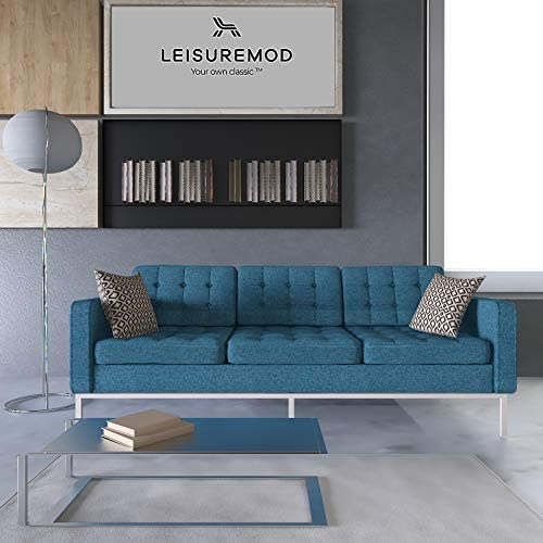 LeisureMod Florence Style Mid Century Modern Tufted Sofa Blue Twill Wool