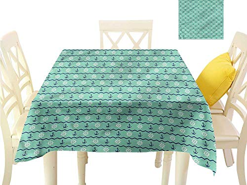Davishouse Fabric Dust-Proof Table Cover Seaside Aquatic Theme Icons Indoor Outdoor Camping Picnic W70 x L70