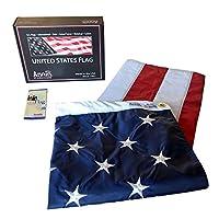 Annin Flagmakers Modelo 2270 American Flag 5x8 pies Nylon-Guard Nyl-Glo de Nylon SolarGuard, 100% Hecho en EE. UU. Con rayas cosidas, estrellas bordadas y ojales de latón.