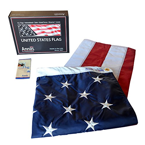 Annin Flagmakers Model 2270 American Flag 5x8 ft. Nylon SolarGuard Nyl-Glo , 100% Made in USA with Sewn Stripes, Embroidered Stars and Brass Grommets.