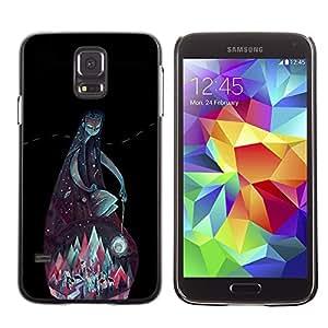 GOODTHINGS ( NO PARA S5 Mini ) Funda Imagen Diseño Carcasa Tapa Trasera Negro Cover Skin Case para Samsung Galaxy S5 SM-G900 - montañas verde azulado dios noche negro verde