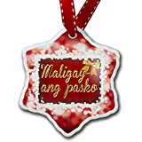 Christmas Ornament Merry Christmas in Tagalog from Philippines, red - Neonblond