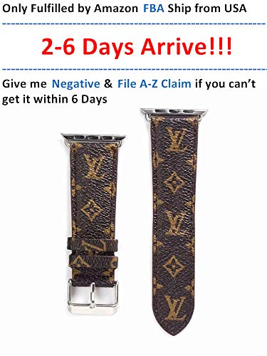 A+NYC 40 Compatible Apple Watch Straps 38mm (fit for 40mm), Luxury Fashion PU Leather Classic Wrist Bands for Women and Men, Replacement for Apple Watch Series 4 3 2 1 38/40MM (Small Monogram)
