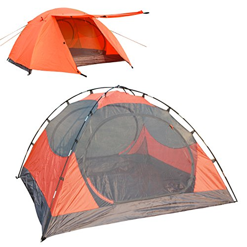 LETHMIK Portable Outdoor Backpacking Tent,2-3 Person Ultralight Waterproof Easy Set Up Family Tent with Carrying Bag Orange