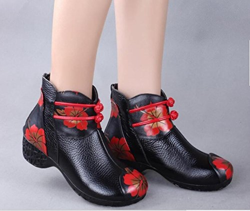 Wind In Leather Like And Winter Ladies Boot National Short Black Rough Mother Boots Stamp Antique Shoes Soft Flower Autumn And HGTYU Hand 5qgfTPUP
