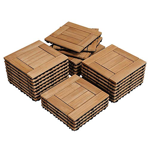Yaheetech 27PCS Wood Flooring Decking Deck Tiles Interlocking Patio Pavers Tiles Solid Wood and Plastic Indoor Outdoor 12 x 12in Natural Wood (Tiles Outdoor Wood)