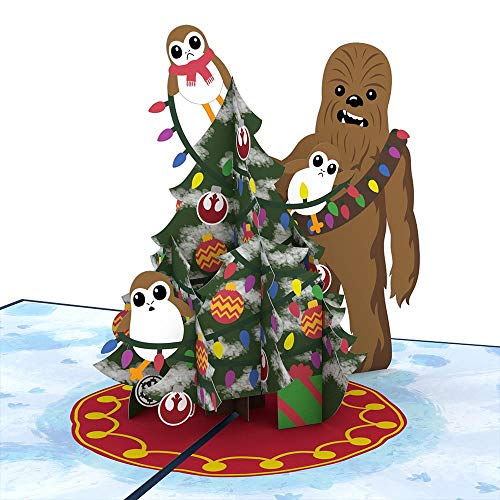 Star Wars Chewie & Porgs Christmas Pop Up Card, 3D Card, Greeting -