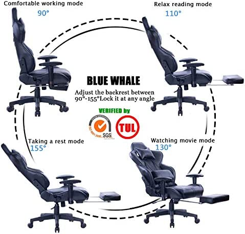 Blue Whale Gaming Chair with Adjustable Massage Lumbar Pillow,Retractable Footrest and Headrest -Racing Ergonomic High-Back PU Leather Office Computer Executive Desk Chair (GM039Black-2) 514WbfJhywL