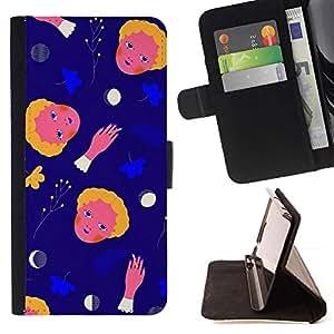 For Samsung Galaxy S6 EDGE (NOT S6) Plus / S6 Edge+ G928 Case , Espacio Abstracto Luna Madre Niño lun- la tarjeta de Crédito Slots PU Funda de cuero Monedero caso cubierta de piel